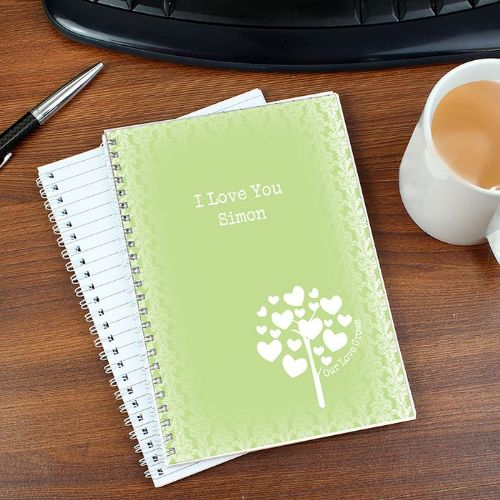 Personalised Love Grows Green A5 Notebook